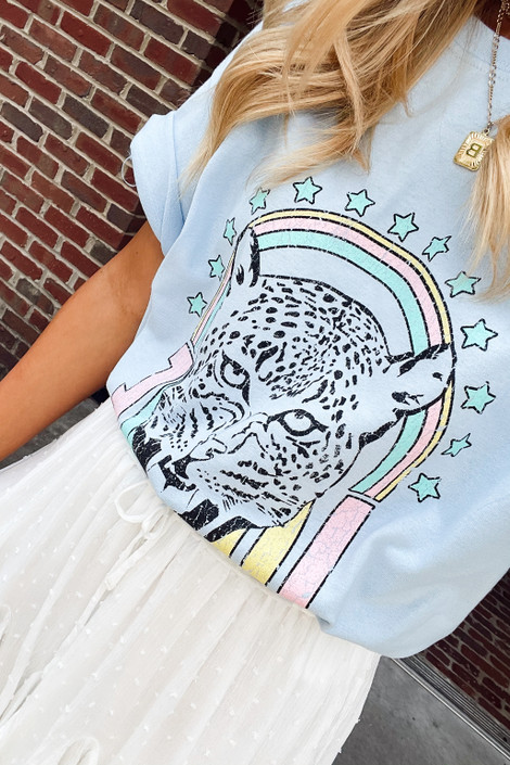 Light Blue - Tiger Love Graphic Tee from Dress Up