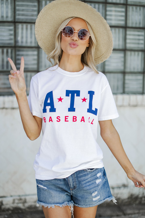 White - ATL Baseball Graphic Tee from Dress Up