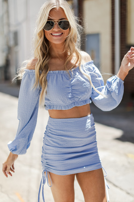 Light Blue - Ruched Crop Top from Dress Up