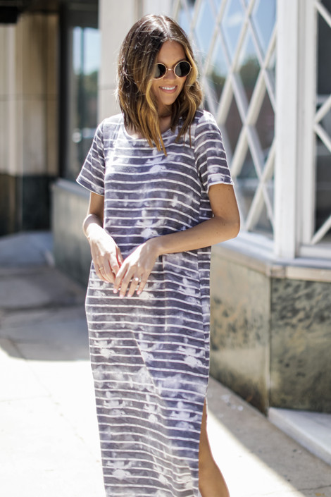 Charcoal - Striped T-Shirt Maxi Dress from Dress Up
