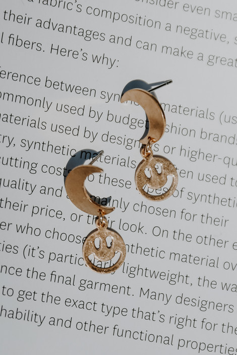 Gold - Moon + Smiley Face Earrings from Dress Up