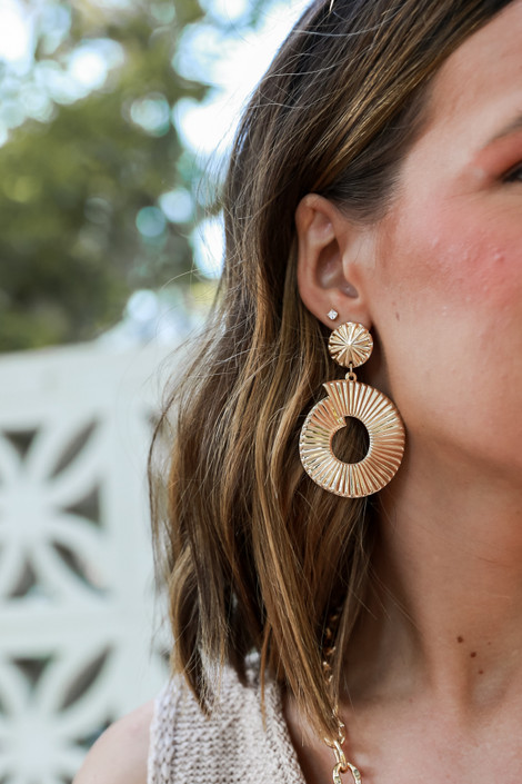 Gold - Textured Statement Drop Earrings