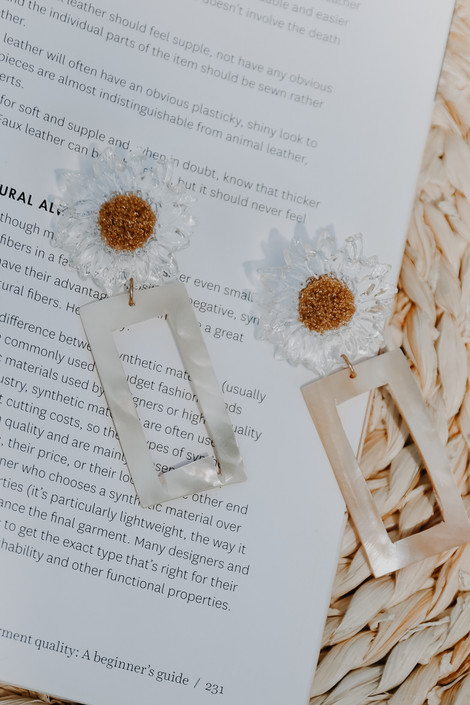 Ivory - Sunflower Statement Drop Earrings from Dress Up