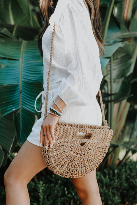 Taupe - Straw Crossbody Bag from Dress Up