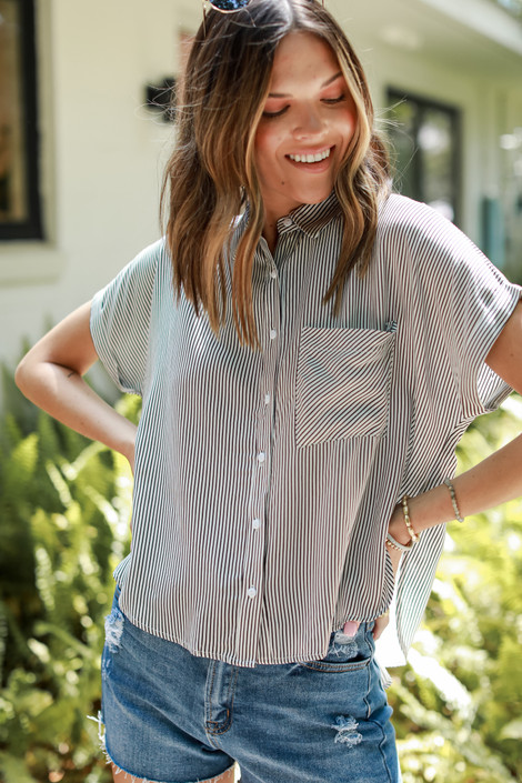 Black - Striped Button-Up Top from Dress Up