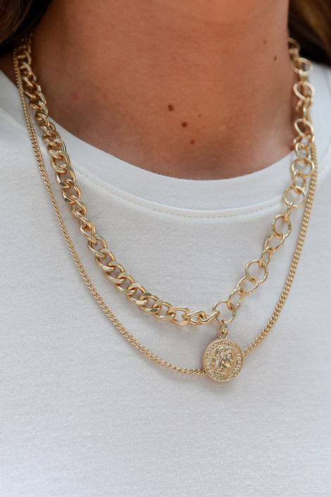 Gold - Coin Layered Necklace