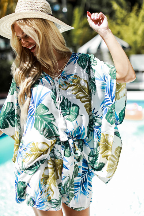 White - Palm Leaf Top from Dress Up