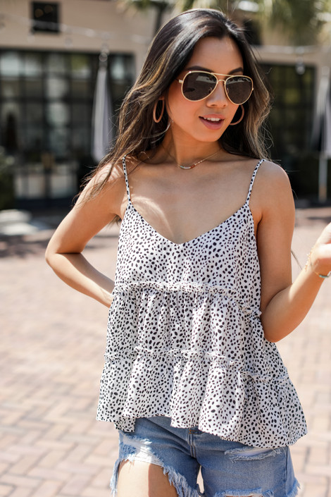 White - Spotted Babydoll Tank
