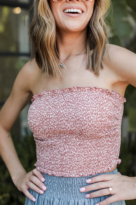Mauve - Spotted Smocked Crop Top from Dress Up