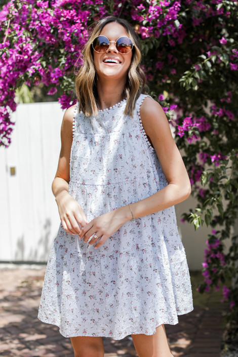 Blue - Tiered Floral Dress