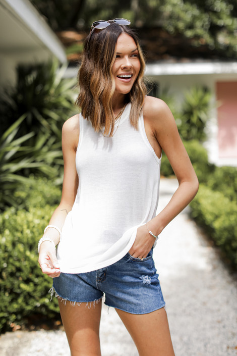 White - Everyday Knit Tank from Dress Up