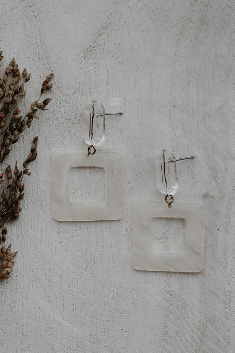 White - Acrylic Statement Earrings from Dress Up
