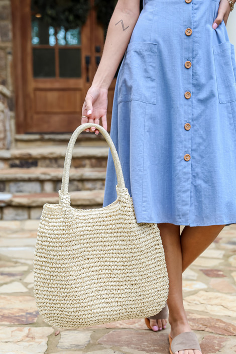 Ivory - Straw Tote Bag from Dress Up