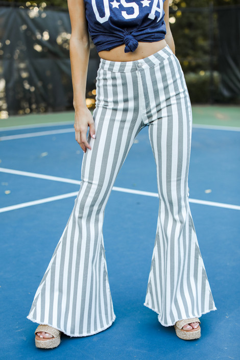 Grey - Striped Flare Jeans