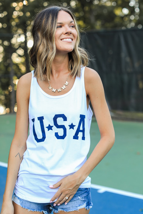 White - USA Star Graphic Tank from Dress Up