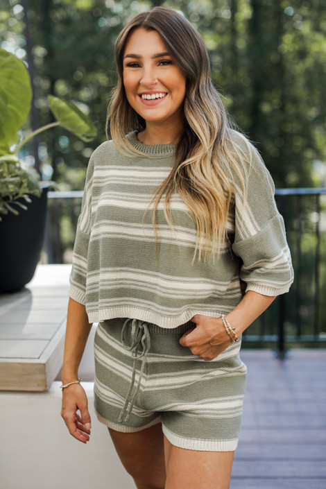 Olive - Striped Knit Top from Dress Up