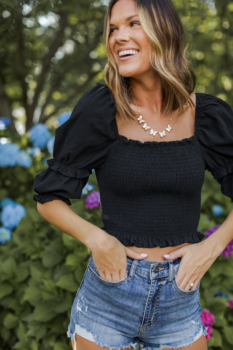 Black - Smocked Crop Top from Dress Up