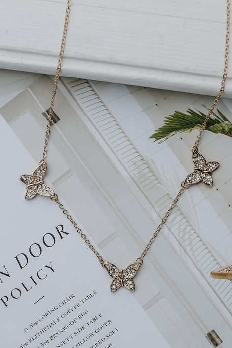 Gold - Rhinestone Butterfly Necklace from Dress Up
