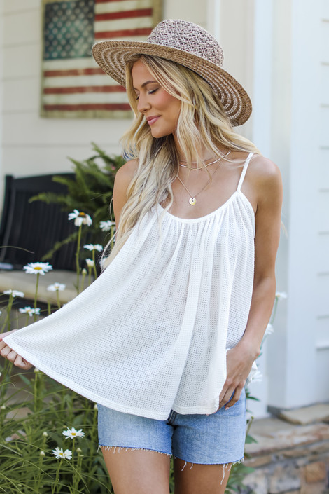 White - Waffle Tank from Dress Up