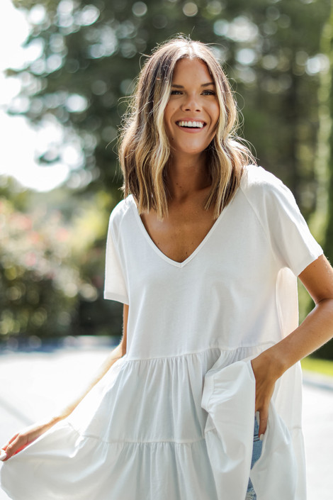 White - Tiered Babydoll Top