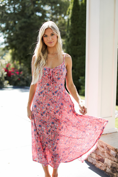 Coral - Floral Maxi Dress from Dress Up