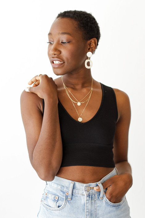 Black - V-Neck Ribbed Cropped Tank from Dress Up