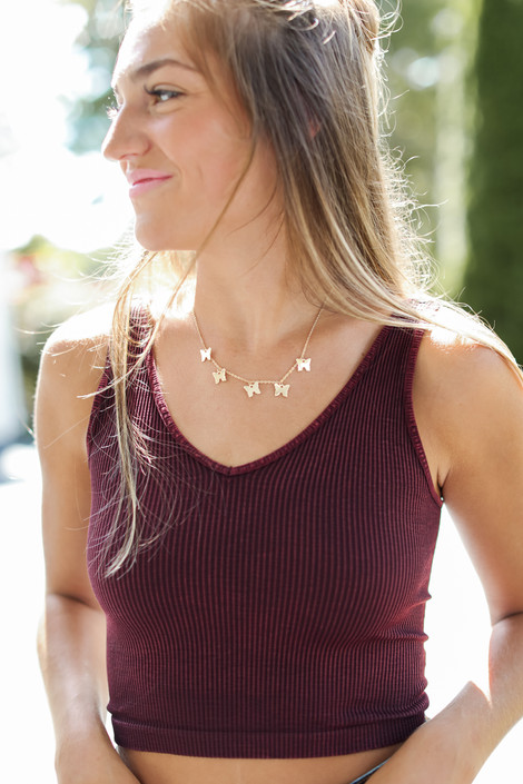 Wine - Cropped V-Neck Ribbed Tank from Dress Up