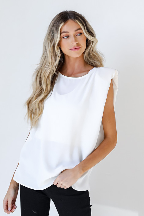White - Shoulder Pad Top from Dress Up