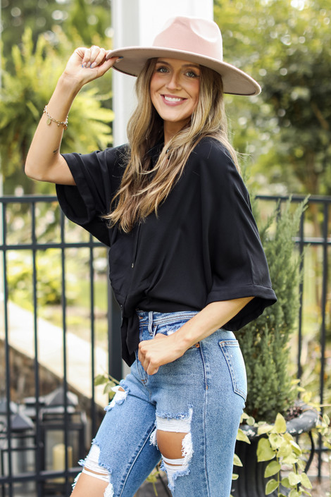 Black - Tie-Front Blouse from Dress Up