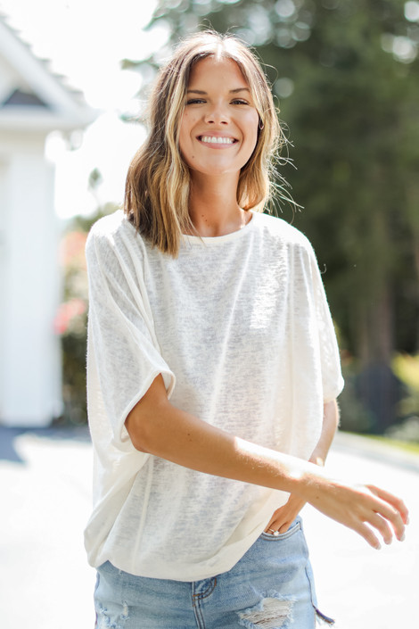 White - Oversized Knit Top from Dress Up