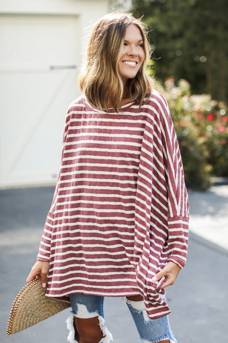 Wine - Oversized Striped Top from Dress Up