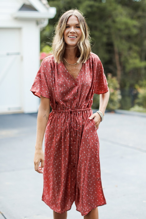 Rust - Spotted Midi Dress from Dress Up