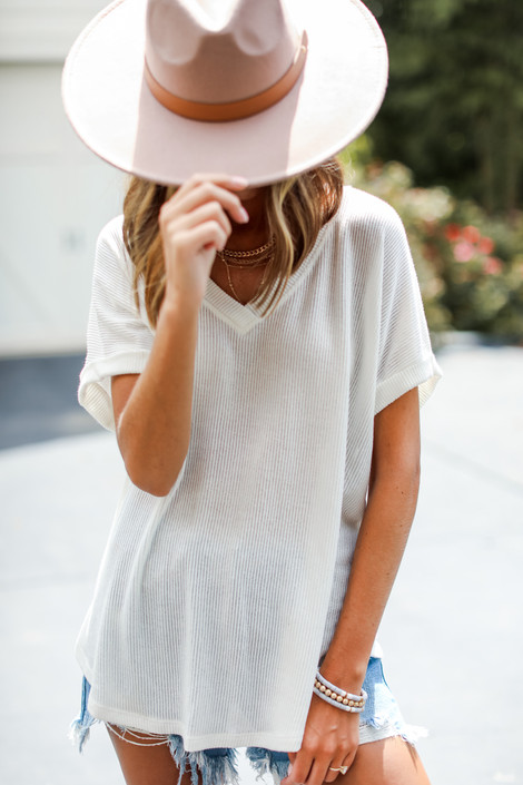 White - Ribbed Knit V-Neck Top from Dress Up