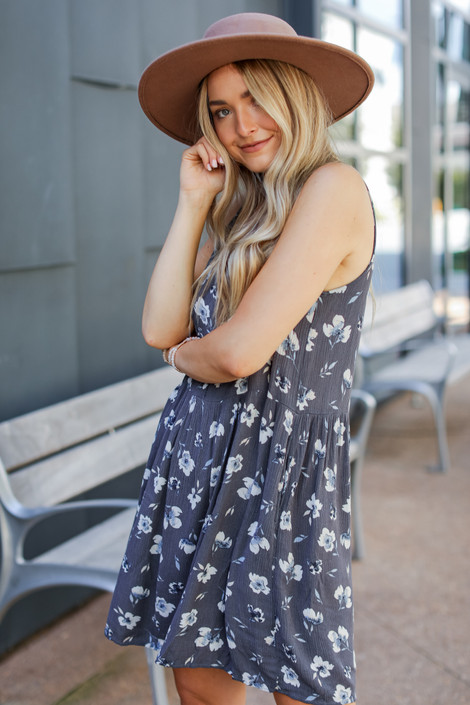 Charcoal - Floral Babydoll Dress from Dress Up