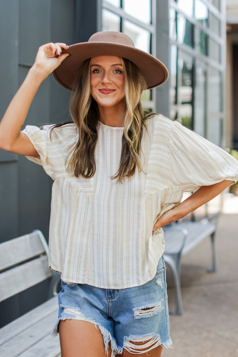 Taupe - Striped Blouse