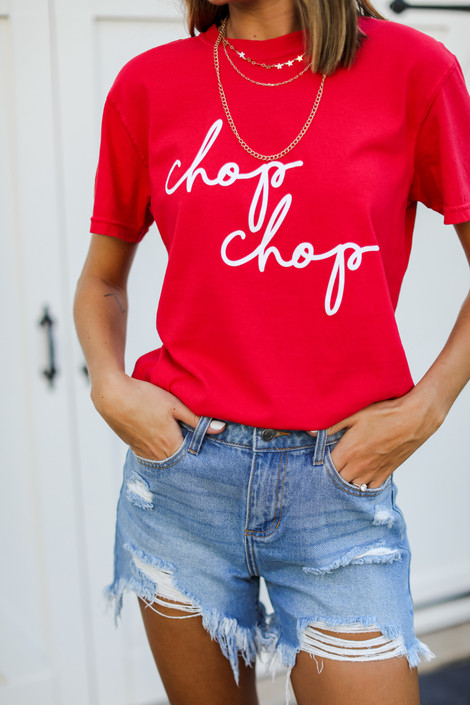 Red - Chop Chop Graphic Tee from Dress Up