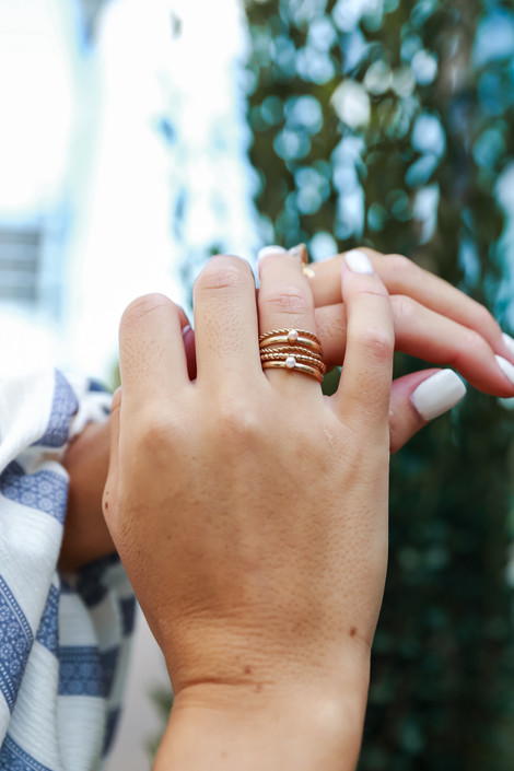 Gold - Pearl Ring Set