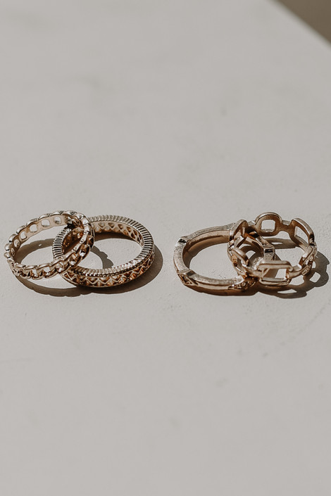 Gold - Chain Ring Set from Dress Up