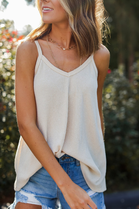 Tan - Everyday Ribbed Tank from Dress Up