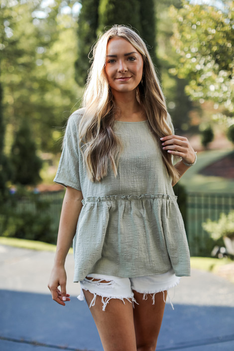 Sage - Linen Babydoll Top from Dress Up