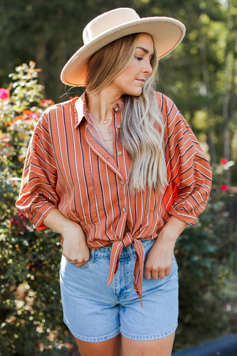 Camel - Striped Button Up Blouse from Dress Up