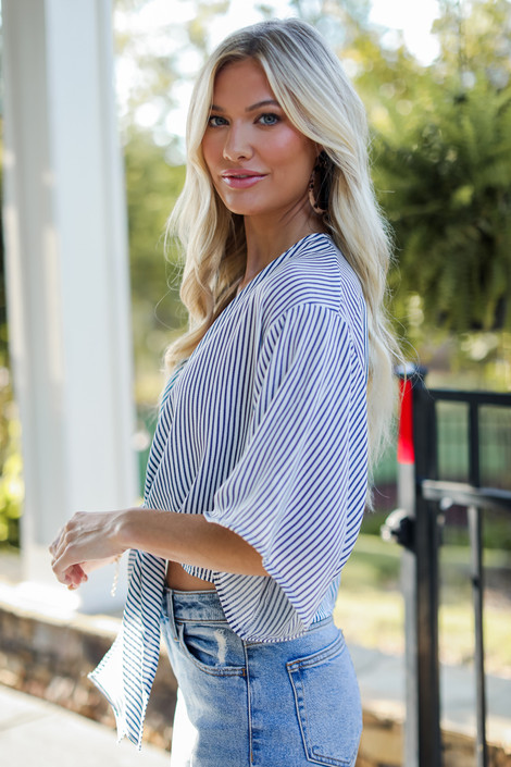 Denim - Striped Tie-Front Blouse from Dress Up