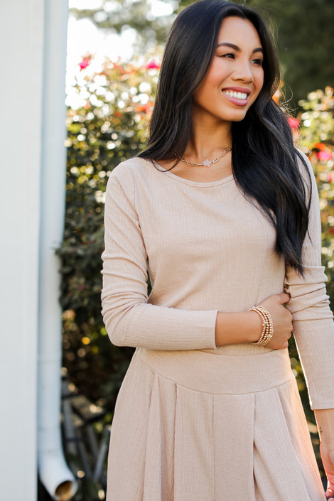 Taupe - Ribbed Top from Dress Up