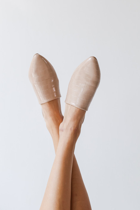 Taupe - Pointed Toe Mules