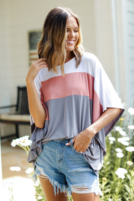White - Color Block Top from Dress Up