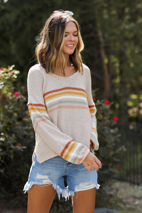 Taupe - Striped Sweater