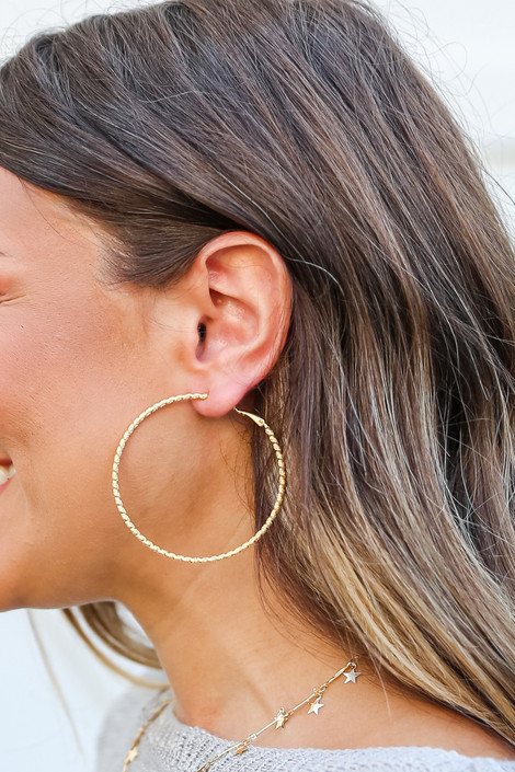 Gold - Textured Large Hoops