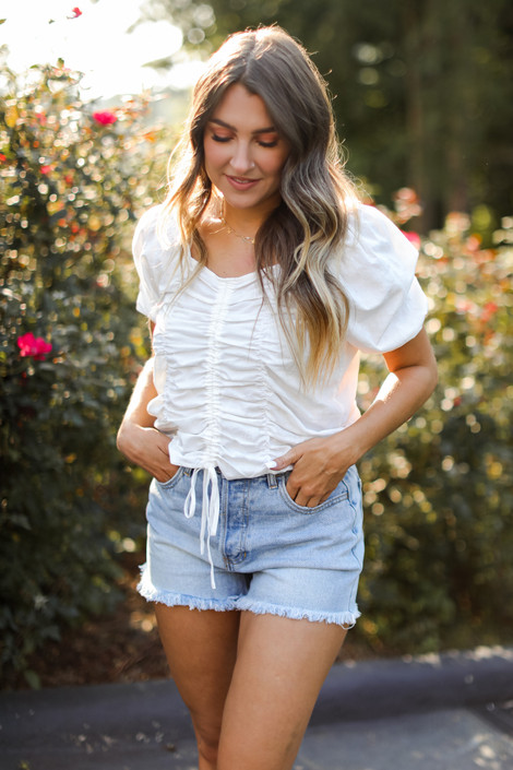 White - Ruched Blouse