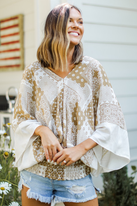 Taupe - Smocked Blouse