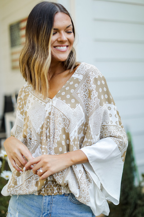 Taupe - Smocked Blouse from Dress Up